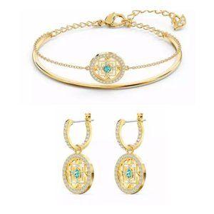 SWAROVSKI Gold Mandala Bangle Bracelet Earring set